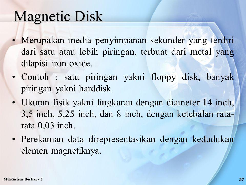 Magnetic Disk Merupakan media penyimpanan sekunder yang terdiri dari satu atau lebih piringan, terbuat dari metal yang dilapisi iron-oxide. Contoh : s