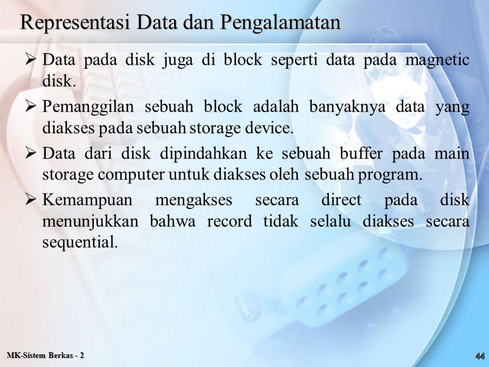 MK-Sistem Berkas - 2 Representasi Data dan Pengalamatan  Data pada disk juga di block seperti data pada magnetic disk.  Pemanggilan sebuah block ada