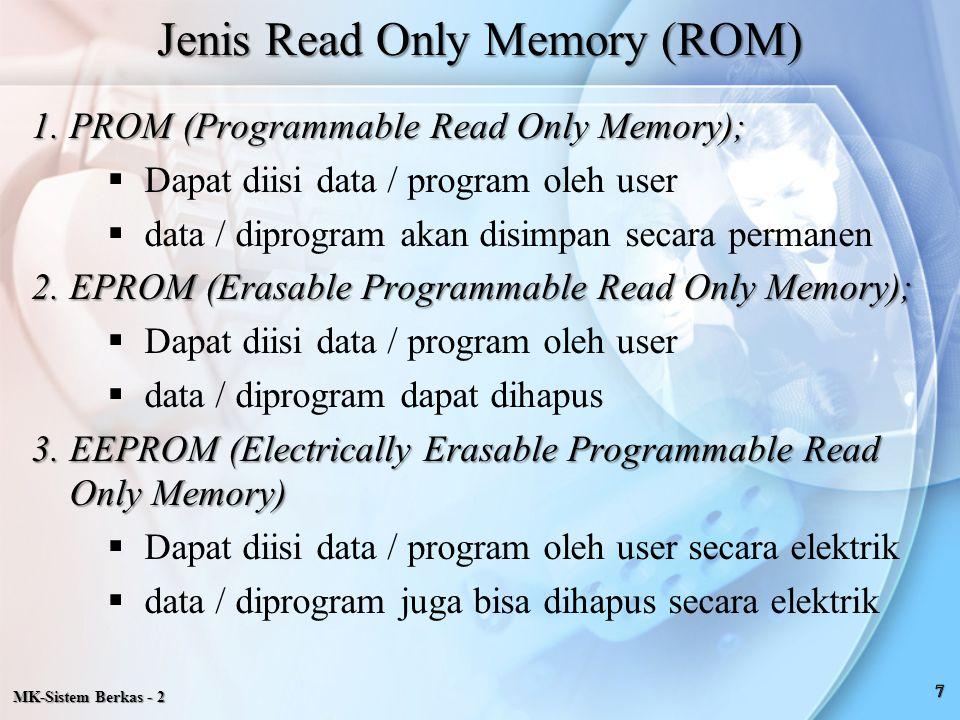 MK-Sistem Berkas - 2 Merupakan Penyimpanan Sekunder Dicirikan dengan :  Tidak dapat diakses langsung oleh CPU(harus dicopi dahulu ke buffer memori)  Kecepatan akses lebih rendah  Berharga lebih murah  Kapasitas besar  Contoh : Magnetic Tape, Magnetic Disk, Optical Disk, Flash Memory  Non volatile storage Kegunaan utama penyimpan sekunder antara lain :  Penyimpan program untuk penggunaan masa datang  Penyimpan informasi dalam bentuk file Secondary Storage