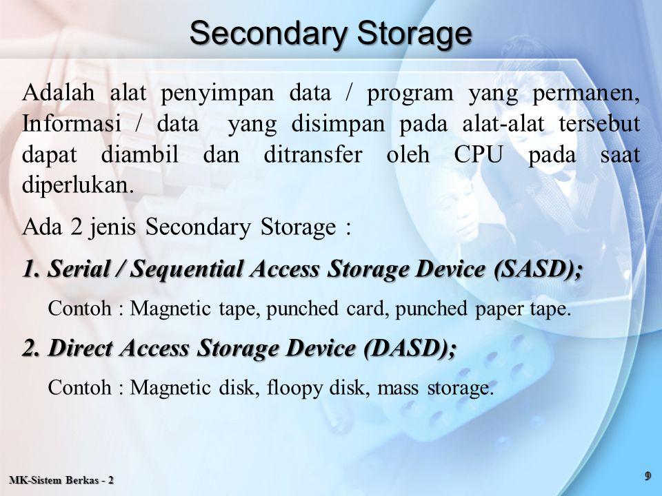 MK-Sistem Berkas - 2 Adalah alat penyimpan data / program yang permanen, Informasi / data yang disimpan pada alat-alat tersebut dapat diambil dan ditr