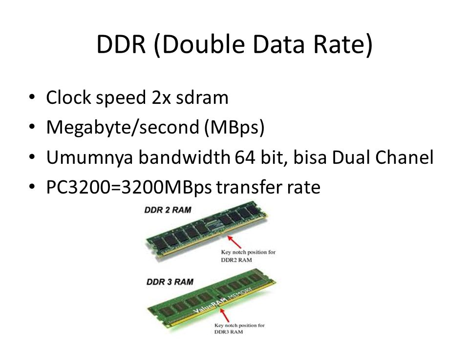 DDR (Double Data Rate) Clock speed 2x sdram Megabyte/second (MBps) Umumnya bandwidth 64 bit, bisa Dual Chanel PC3200=3200MBps transfer rate