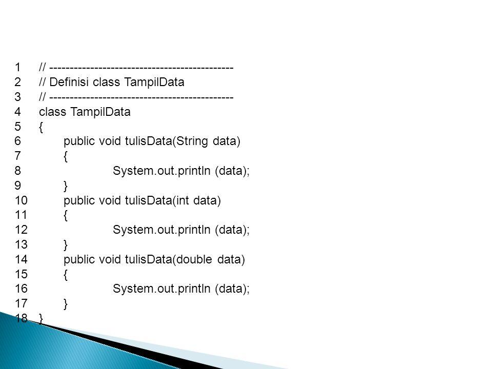 1// --------------------------------------------- 2// Definisi class TampilData 3// --------------------------------------------- 4class TampilData 5{ 6public void tulisData(String data) 7{ 8System.out.println (data); 9} 10public void tulisData(int data) 11{ 12System.out.println (data); 13} 14public void tulisData(double data) 15{ 16System.out.println (data); 17} 18}