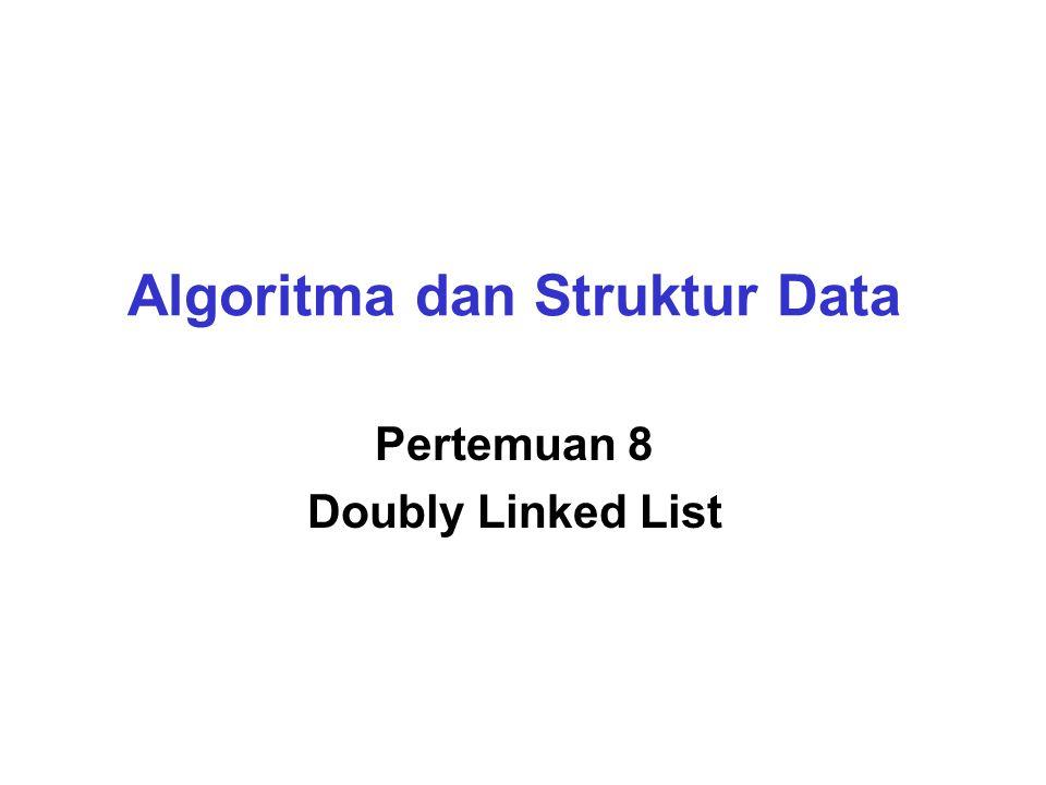 Struktur Doubly Linked List  Node-node doubly linked list saling berkait melalui pointer.
