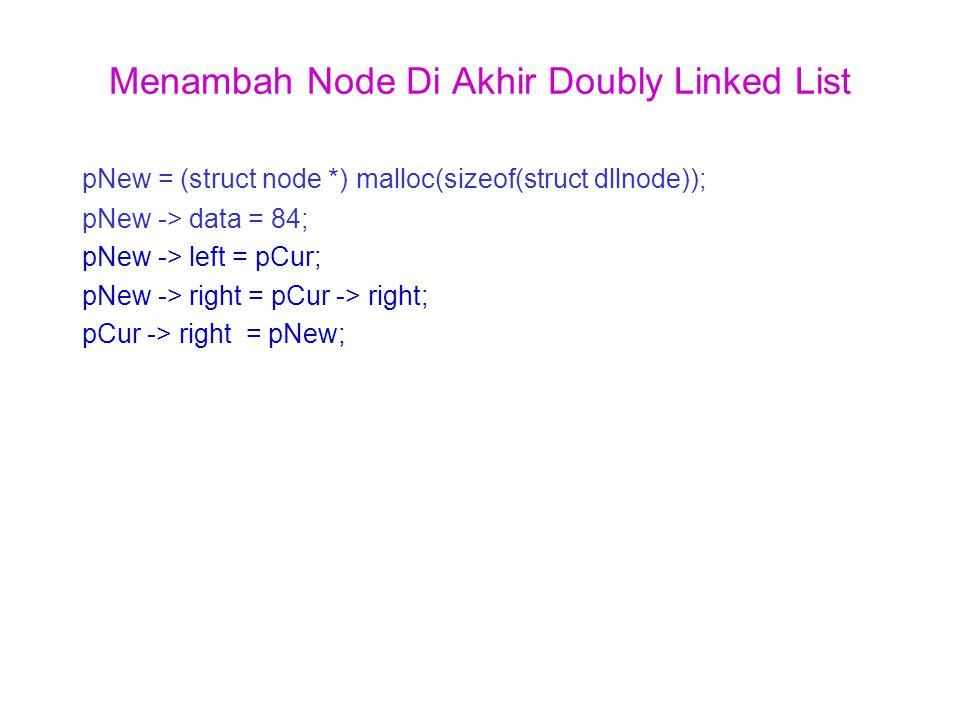 Menambah Node Di Akhir Doubly Linked List pNew = (struct node *) malloc(sizeof(struct dllnode)); pNew -> data = 84; pNew -> left = pCur; pNew -> right