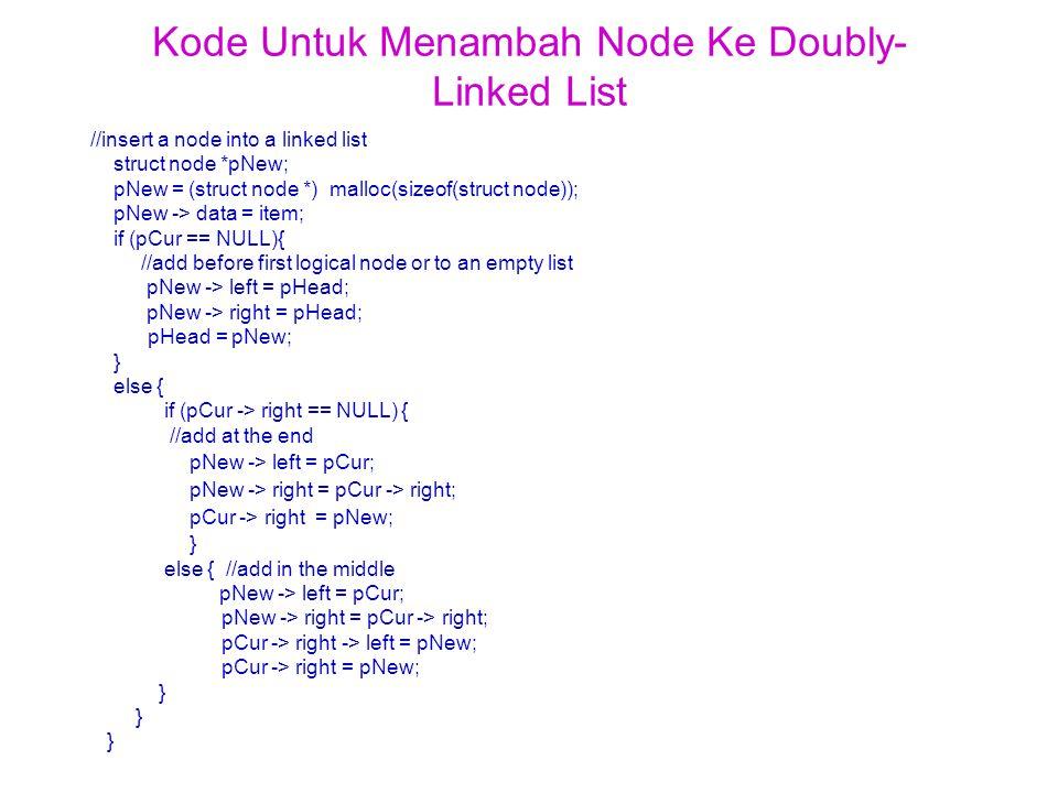 Kode Untuk Menambah Node Ke Doubly- Linked List //insert a node into a linked list struct node *pNew; pNew = (struct node *) malloc(sizeof(struct node