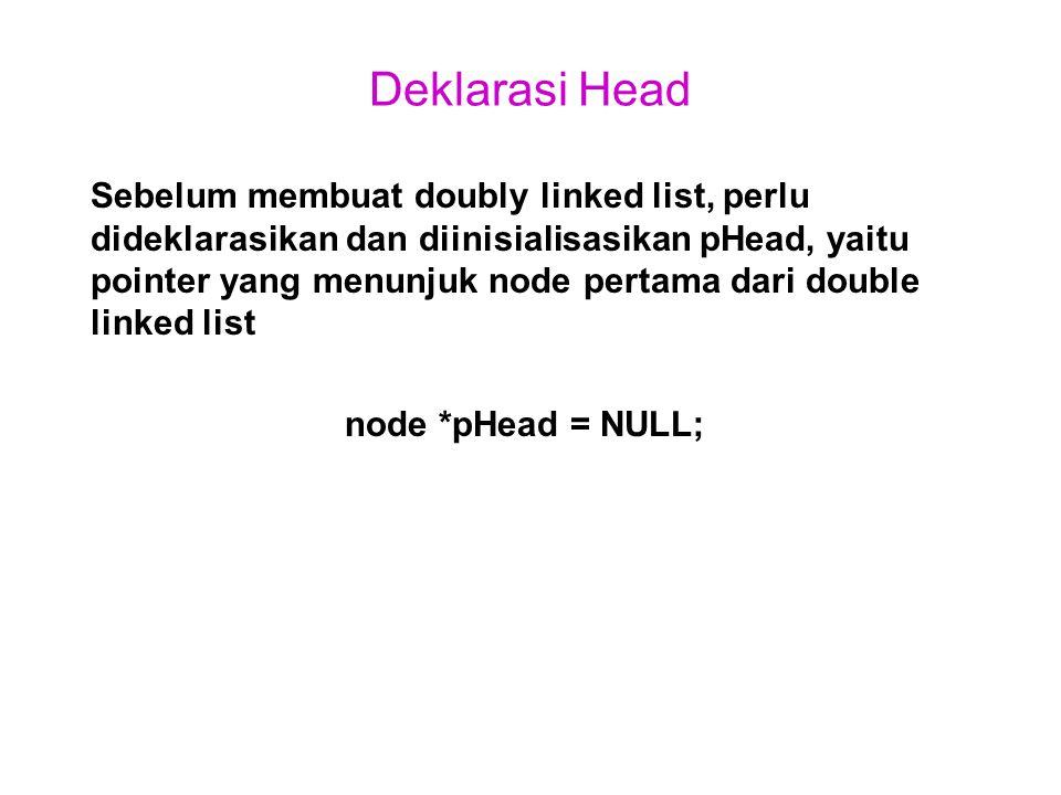 Deklarasi Head Sebelum membuat doubly linked list, perlu dideklarasikan dan diinisialisasikan pHead, yaitu pointer yang menunjuk node pertama dari dou