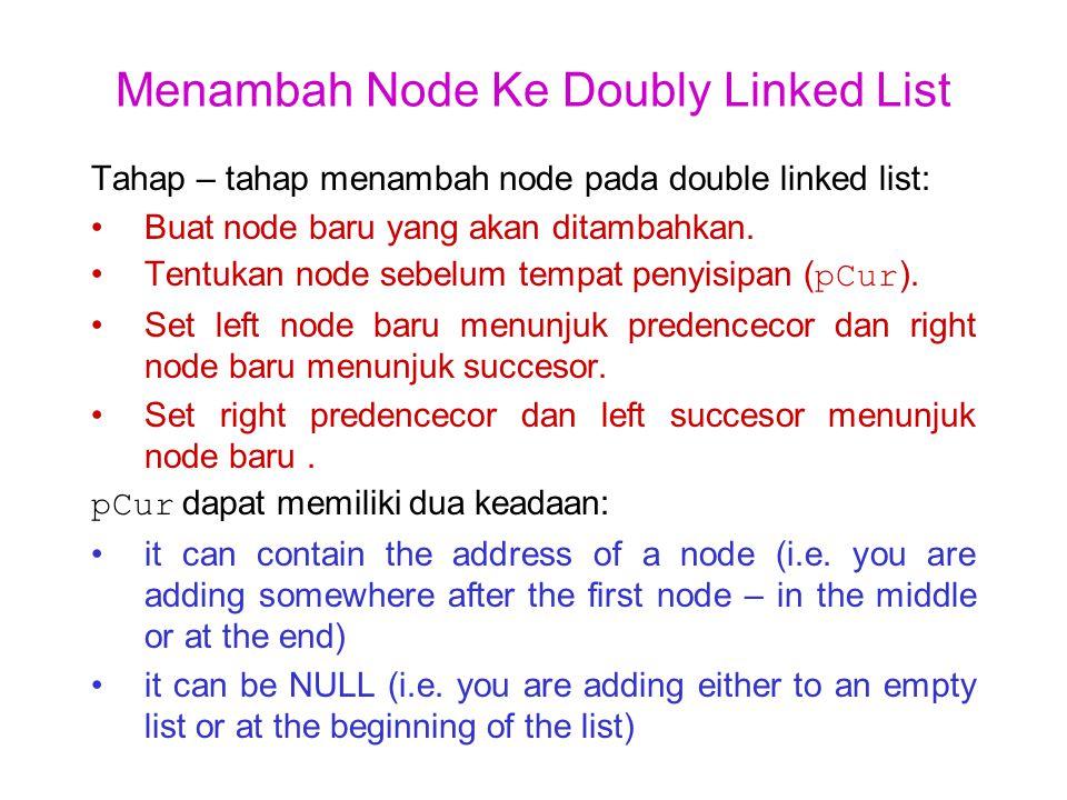 Menambah Node ke Doubly-Linked List Kosong Initial: Code: pNew = (node *) /*create node*/ malloc(sizeof(node)); pNew -> data = 39; pNew -> right = pHead; pNew -> left = pHead; pHead = pNew; After: 39pNew pHead pCur 39pNew pHead pCur