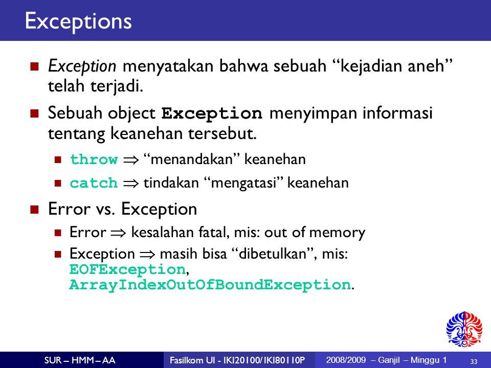 33 SUR – HMM – AAFasilkom UI - IKI20100/ IKI80110P 2008/2009 – Ganjil – Minggu 1 Exception menyatakan bahwa sebuah kejadian aneh telah terjadi.