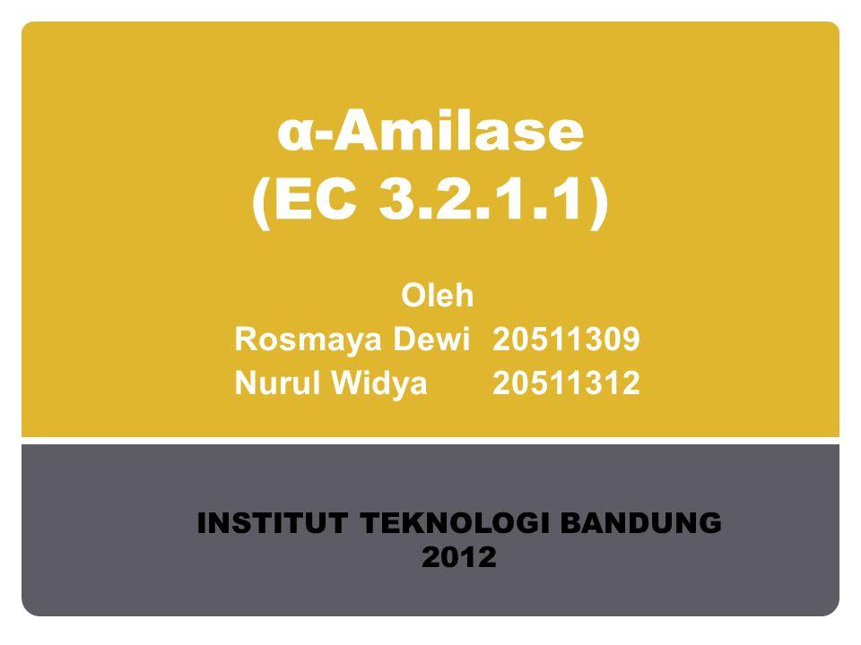 α-Amilase (EC 3.2.1.1) Oleh Rosmaya Dewi20511309 Nurul Widya20511312 INSTITUT TEKNOLOGI BANDUNG 2012