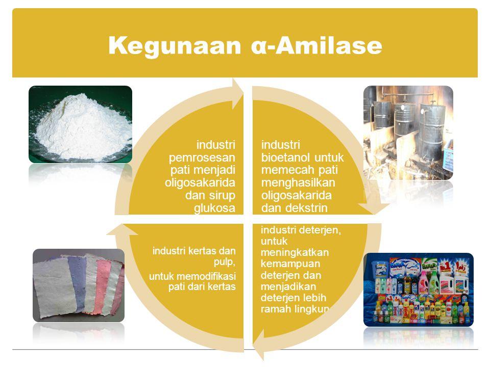 Kegunaan α-Amilase industri bioetanol untuk memecah pati menghasilkan oligosakarida dan dekstrin industri deterjen, untuk meningkatkan kemampuan deter