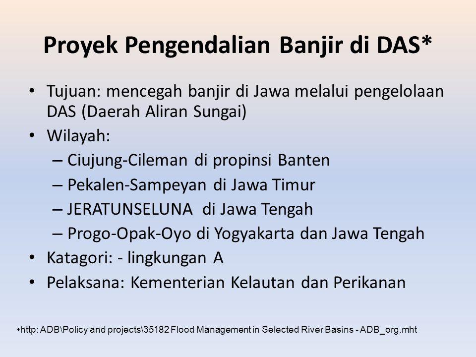 Proyek Pengendalian Banjir di DAS* Tujuan: mencegah banjir di Jawa melalui pengelolaan DAS (Daerah Aliran Sungai) Wilayah: – Ciujung-Cileman di propin