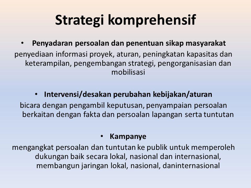 Strategi komprehensif Penyadaran persoalan dan penentuan sikap masyarakat penyediaan informasi proyek, aturan, peningkatan kapasitas dan keterampilan,