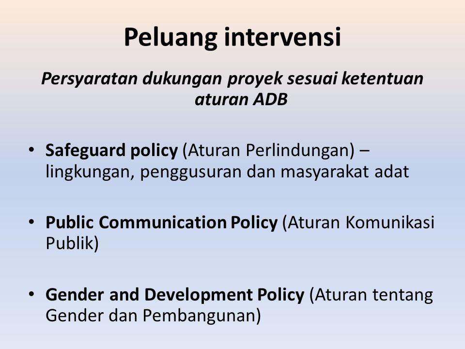Peluang intervensi Persyaratan dukungan proyek sesuai ketentuan aturan ADB Safeguard policy (Aturan Perlindungan) – lingkungan, penggusuran dan masyar