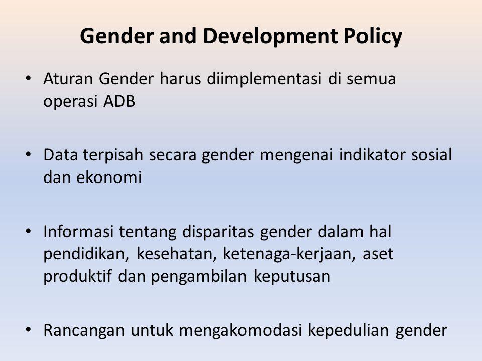 Gender and Development Policy Aturan Gender harus diimplementasi di semua operasi ADB Data terpisah secara gender mengenai indikator sosial dan ekonom