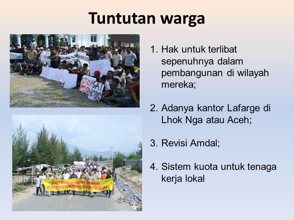 Tuntutan warga 1.Hak untuk terlibat sepenuhnya dalam pembangunan di wilayah mereka; 2.Adanya kantor Lafarge di Lhok Nga atau Aceh; 3.Revisi Amdal; 4.S