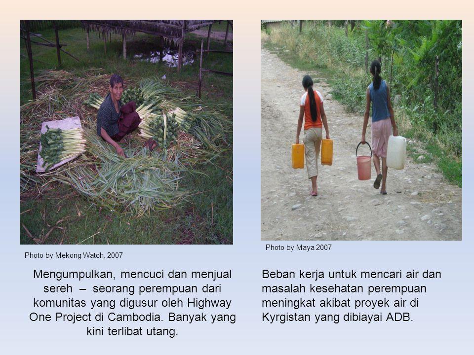 Mengumpulkan, mencuci dan menjual sereh – seorang perempuan dari komunitas yang digusur oleh Highway One Project di Cambodia. Banyak yang kini terliba