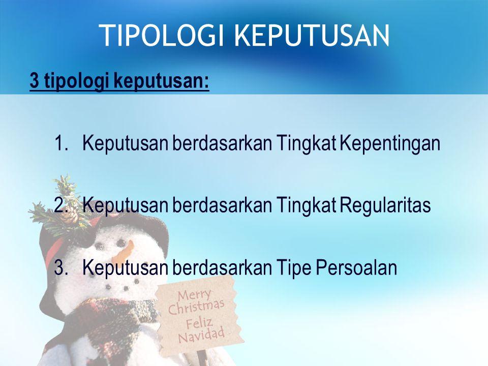 TIPOLOGI KEPUTUSAN 3 tipologi keputusan: 1.Keputusan berdasarkan Tingkat Kepentingan 2.Keputusan berdasarkan Tingkat Regularitas 3.Keputusan berdasarkan Tipe Persoalan