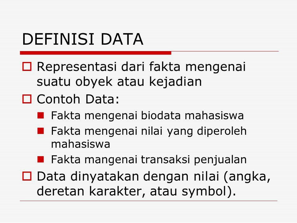 DEFINISI DATA  Representasi dari fakta mengenai suatu obyek atau kejadian  Contoh Data: Fakta mengenai biodata mahasiswa Fakta mengenai nilai yang d