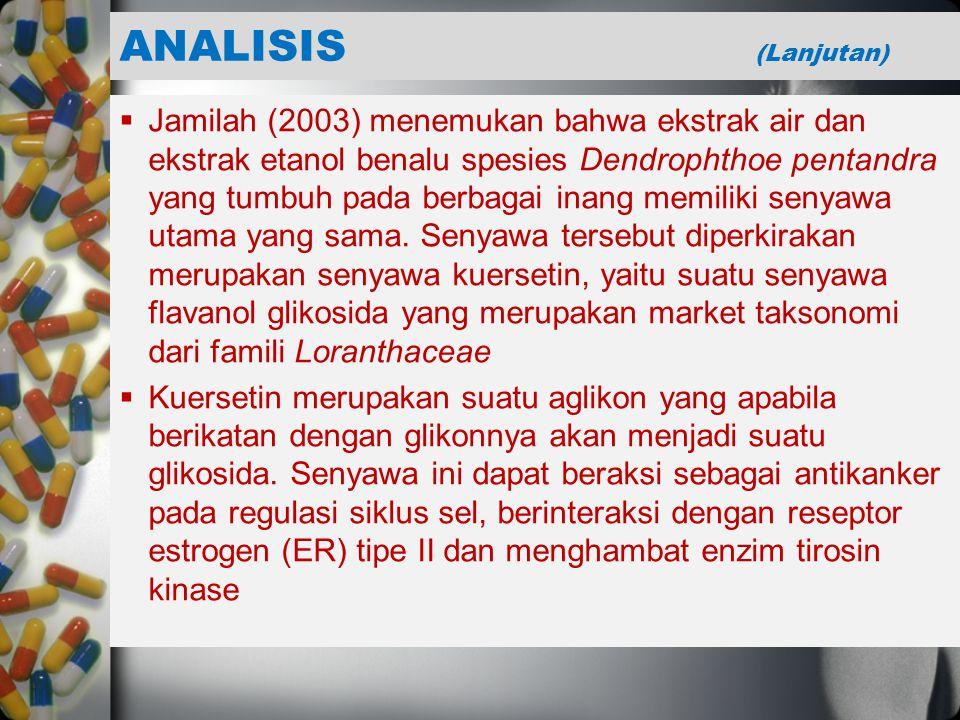  Jamilah (2003) menemukan bahwa ekstrak air dan ekstrak etanol benalu spesies Dendrophthoe pentandra yang tumbuh pada berbagai inang memiliki senyawa utama yang sama.
