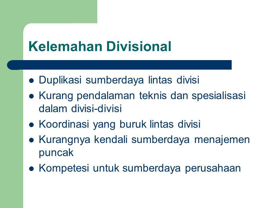 Kelemahan Divisional Duplikasi sumberdaya lintas divisi Kurang pendalaman teknis dan spesialisasi dalam divisi-divisi Koordinasi yang buruk lintas div