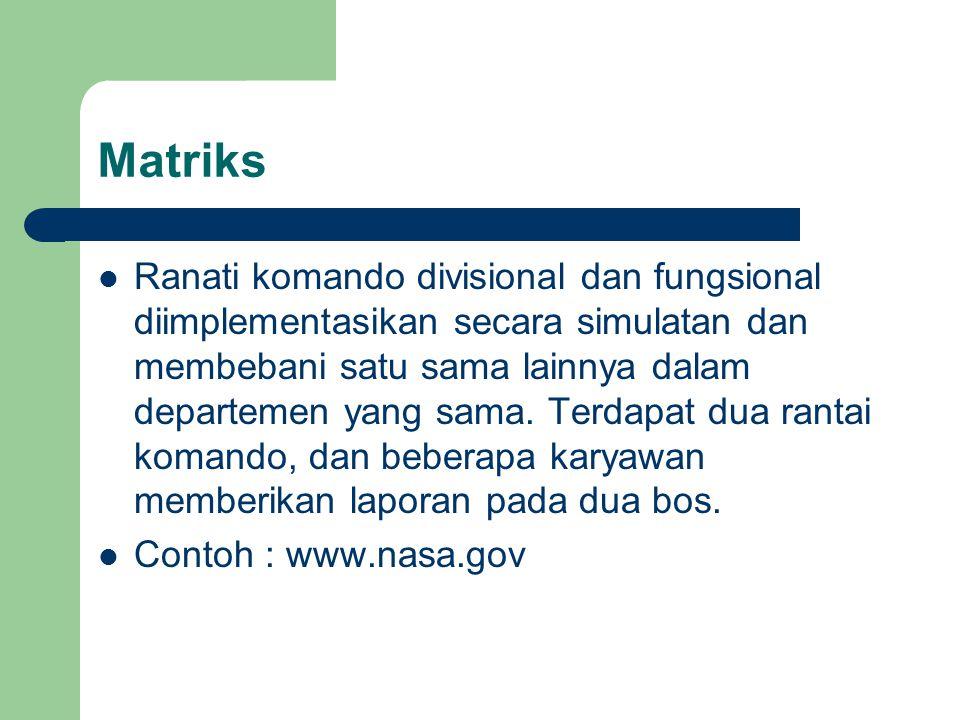 Matriks Ranati komando divisional dan fungsional diimplementasikan secara simulatan dan membebani satu sama lainnya dalam departemen yang sama. Terdap