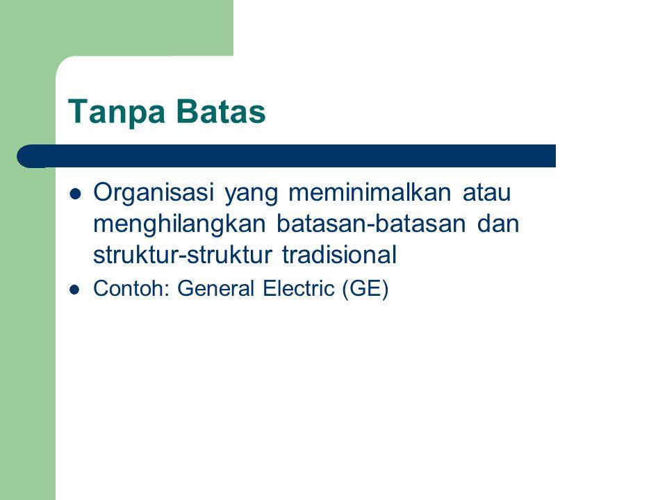 Tanpa Batas Organisasi yang meminimalkan atau menghilangkan batasan-batasan dan struktur-struktur tradisional Contoh: General Electric (GE)