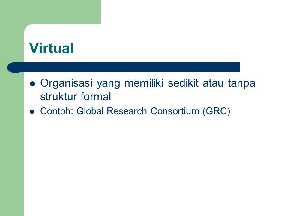 Virtual Organisasi yang memiliki sedikit atau tanpa struktur formal Contoh: Global Research Consortium (GRC)