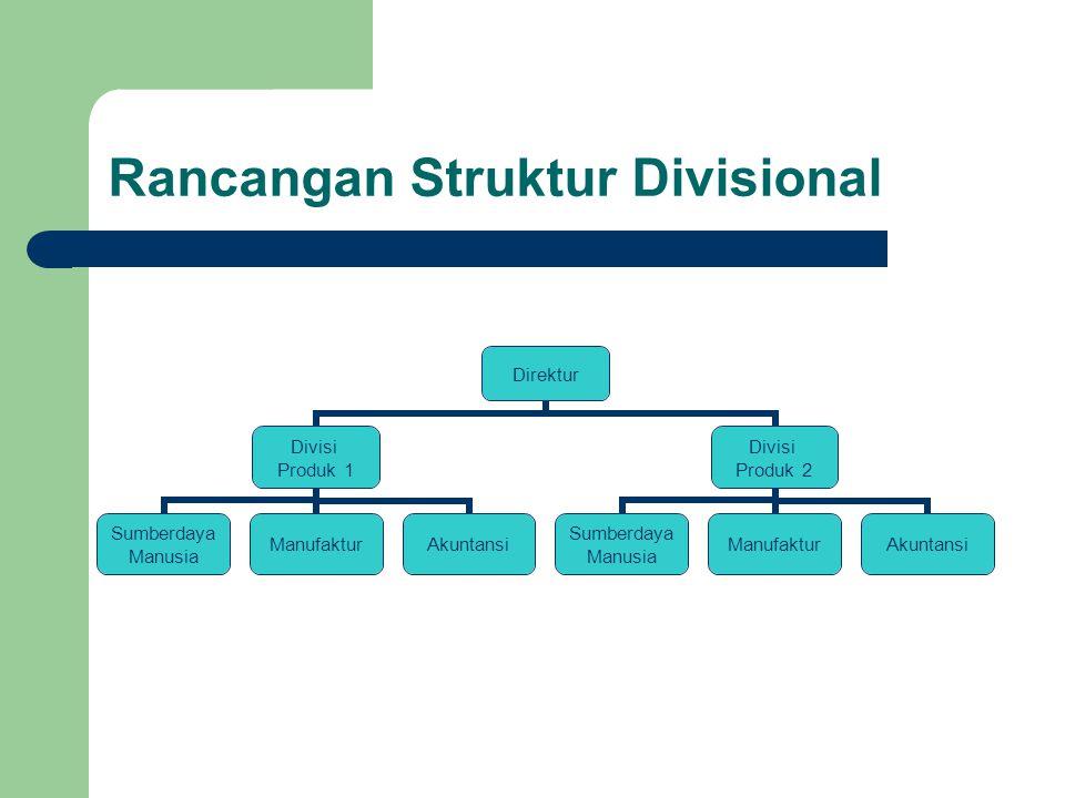 Rancangan Struktur Divisional Direktur Divisi Produk 1 Sumberdaya Manusia ManufakturAkuntansi Divisi Produk 2 Sumberdaya Manusia ManufakturAkuntansi