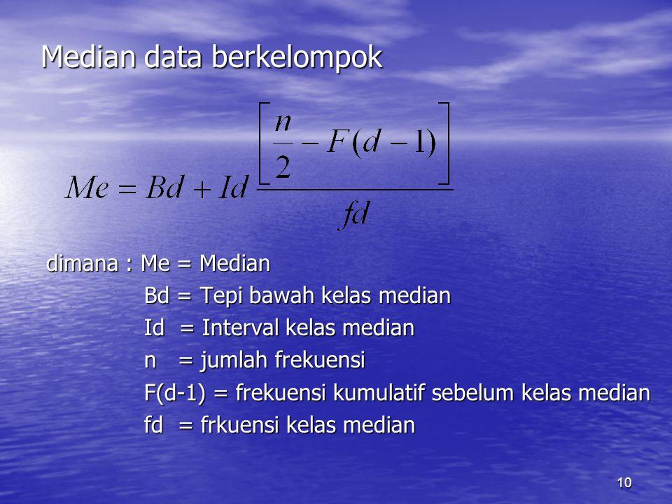 10 Median data berkelompok dimana : Me = Median Bd = Tepi bawah kelas median Bd = Tepi bawah kelas median Id = Interval kelas median Id = Interval kel