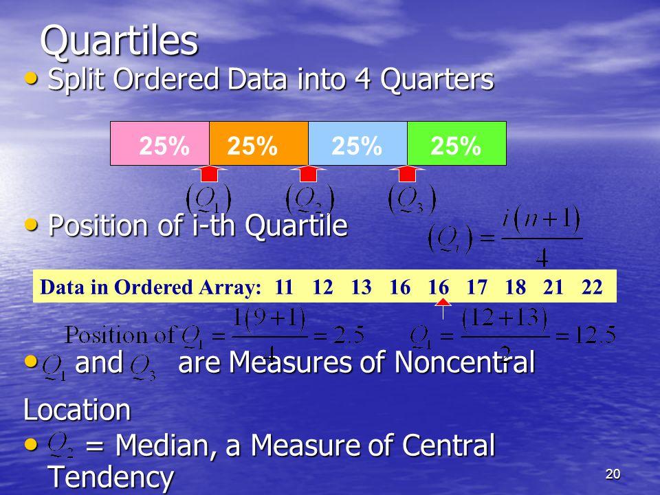 20Quartiles Split Ordered Data into 4 Quarters Split Ordered Data into 4 Quarters Position of i-th Quartile Position of i-th Quartile and are Measures of Noncentral and are Measures of NoncentralLocation = Median, a Measure of Central Tendency = Median, a Measure of Central Tendency 25% Data in Ordered Array: 11 12 13 16 16 17 18 21 22