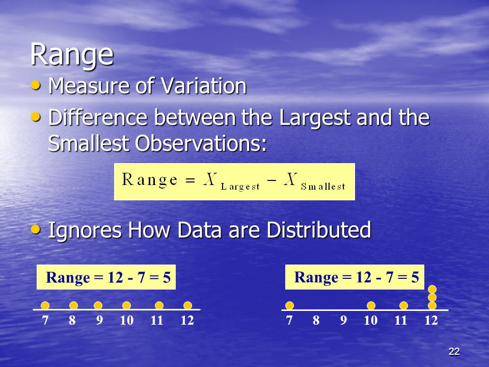 22 Range Measure of Variation Measure of Variation Difference between the Largest and the Smallest Observations: Difference between the Largest and the Smallest Observations: Ignores How Data are Distributed Ignores How Data are Distributed 7 8 9 10 11 12 Range = 12 - 7 = 5 7 8 9 10 11 12 Range = 12 - 7 = 5