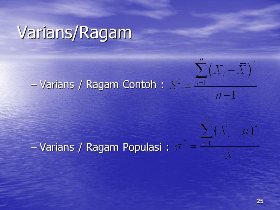 25 –Varians / Ragam Contoh : –Varians / Ragam Populasi : Varians/Ragam