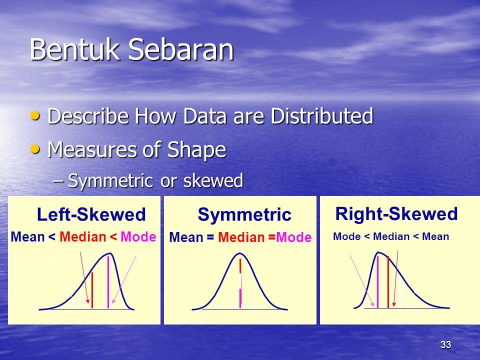 33 Bentuk Sebaran Describe How Data are Distributed Describe How Data are Distributed Measures of Shape Measures of Shape –Symmetric or skewed Mean = Median =Mode Mean < Median < Mode Mode < Median < Mean Right-Skewed Left-SkewedSymmetric
