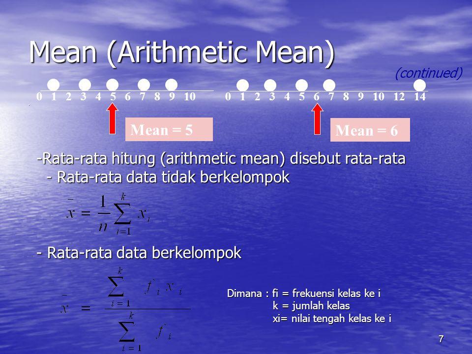 7 Mean (Arithmetic Mean). (continued) 0 1 2 3 4 5 6 7 8 9 100 1 2 3 4 5 6 7 8 9 10 12 14 Mean = 5 Mean = 6 -Rata-rata hitung (arithmetic mean) disebut