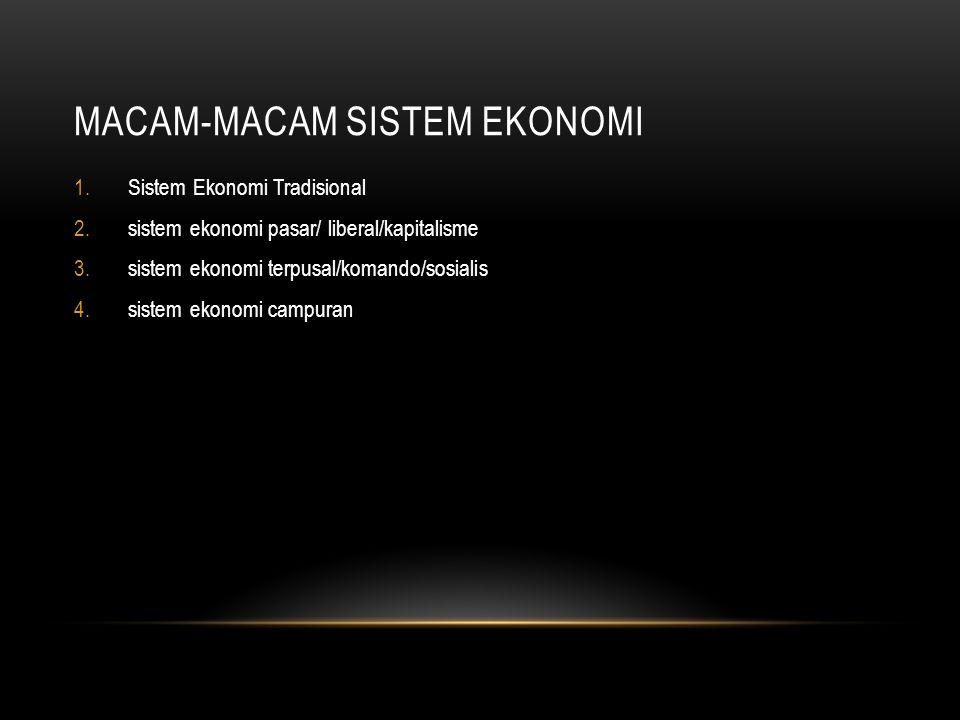 MACAM-MACAM SISTEM EKONOMI 1.Sistem Ekonomi Tradisional 2.sistem ekonomi pasar/ liberal/kapitalisme 3.sistem ekonomi terpusal/komando/sosialis 4.sistem ekonomi campuran