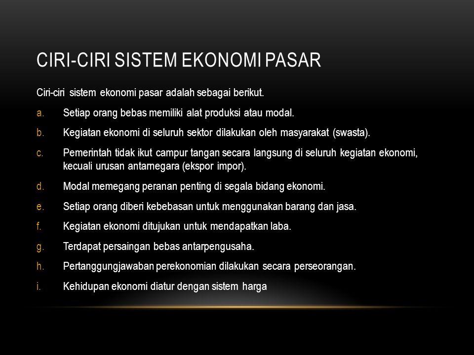 CIRI-CIRI SISTEM EKONOMI PASAR Ciri-ciri sistem ekonomi pasar adalah sebagai berikut.