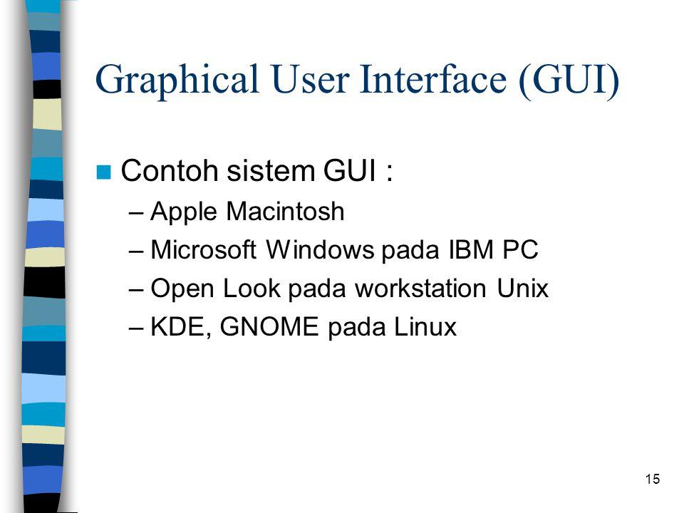15 Graphical User Interface (GUI) Contoh sistem GUI : –Apple Macintosh –Microsoft Windows pada IBM PC –Open Look pada workstation Unix –KDE, GNOME pada Linux