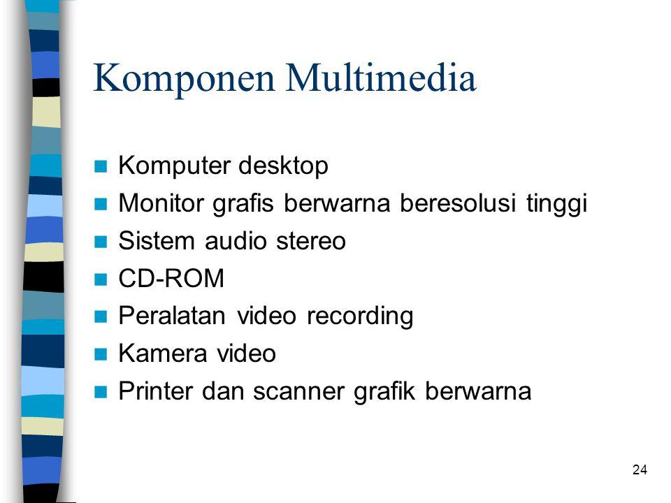 24 Komponen Multimedia Komputer desktop Monitor grafis berwarna beresolusi tinggi Sistem audio stereo CD-ROM Peralatan video recording Kamera video Printer dan scanner grafik berwarna