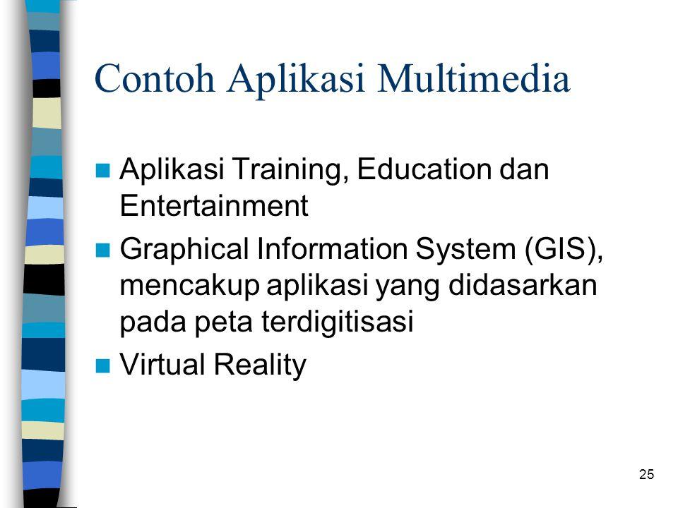 25 Contoh Aplikasi Multimedia Aplikasi Training, Education dan Entertainment Graphical Information System (GIS), mencakup aplikasi yang didasarkan pada peta terdigitisasi Virtual Reality