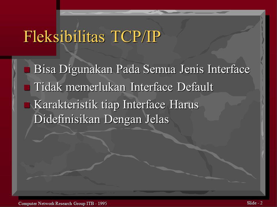 Computer Network Research Group ITB - 1995 Slide - 3 Karakteristik Network Interface Yang Penting n IP Address n Subnetmask n Broadcast Address