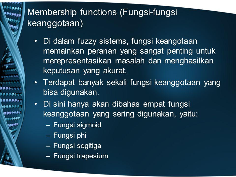 Membership functions (Fungsi-fungsi keanggotaan) Di dalam fuzzy sistems, fungsi keangotaan memainkan peranan yang sangat penting untuk merepresentasik