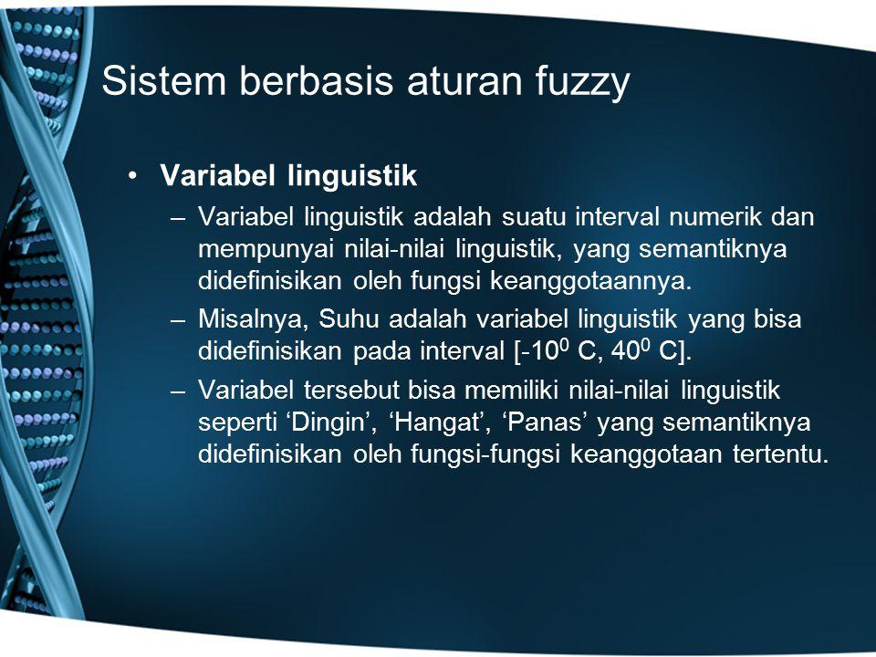 Sistem berbasis aturan fuzzy Variabel linguistik –Variabel linguistik adalah suatu interval numerik dan mempunyai nilai-nilai linguistik, yang semanti