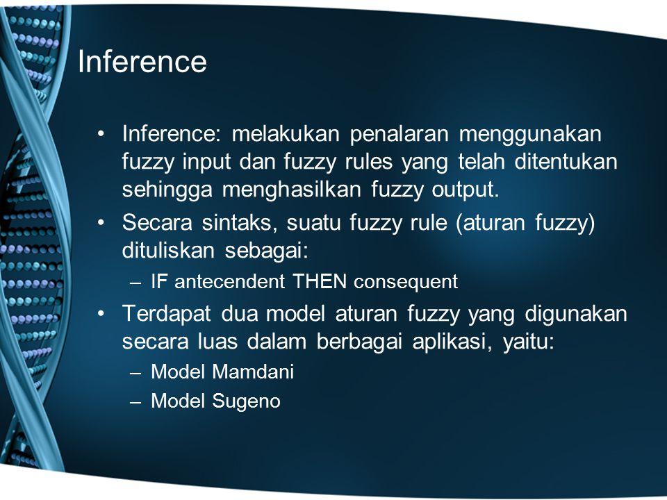Inference Inference: melakukan penalaran menggunakan fuzzy input dan fuzzy rules yang telah ditentukan sehingga menghasilkan fuzzy output. Secara sint