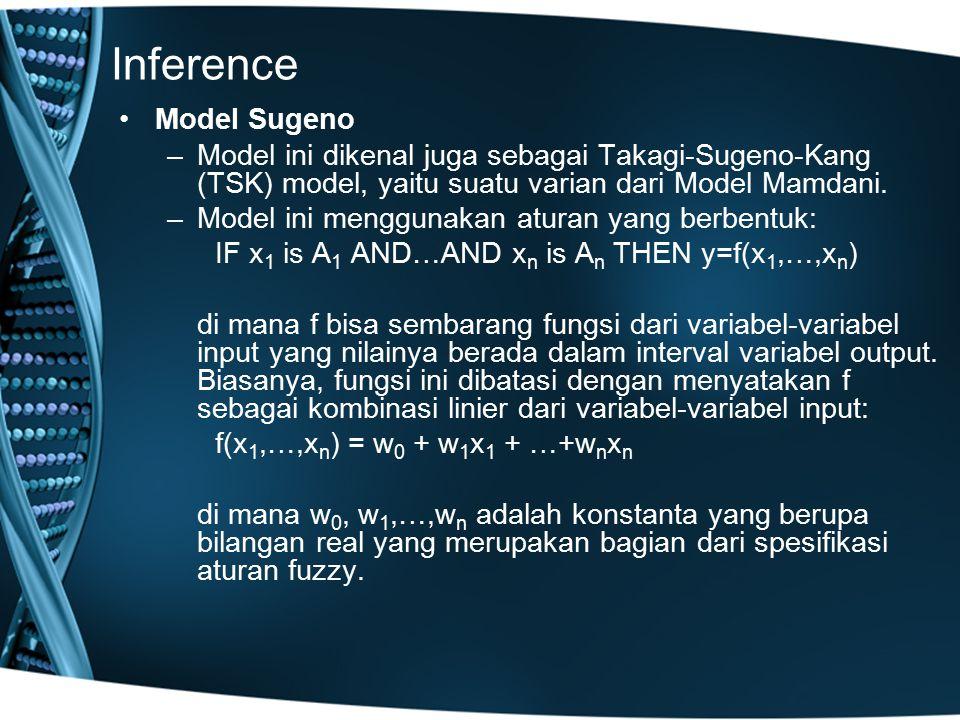 Inference Model Sugeno –Model ini dikenal juga sebagai Takagi-Sugeno-Kang (TSK) model, yaitu suatu varian dari Model Mamdani. –Model ini menggunakan a
