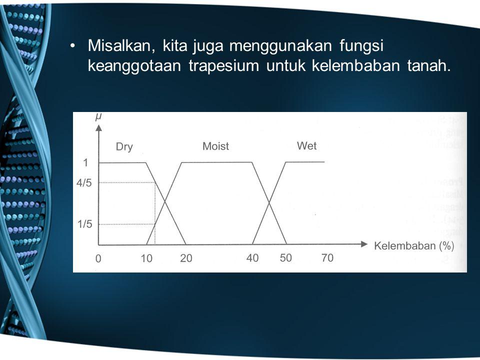 Misalkan, kita juga menggunakan fungsi keanggotaan trapesium untuk kelembaban tanah.
