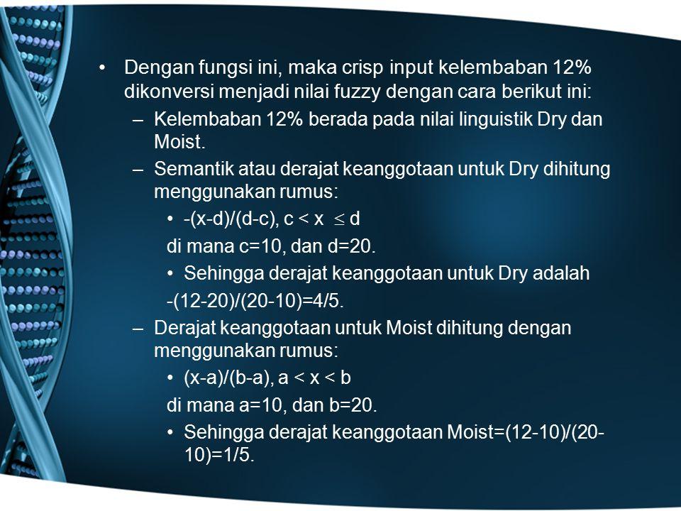 Dengan fungsi ini, maka crisp input kelembaban 12% dikonversi menjadi nilai fuzzy dengan cara berikut ini: –Kelembaban 12% berada pada nilai linguisti