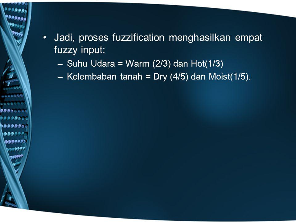 Jadi, proses fuzzification menghasilkan empat fuzzy input: –Suhu Udara = Warm (2/3) dan Hot(1/3) –Kelembaban tanah = Dry (4/5) dan Moist(1/5).