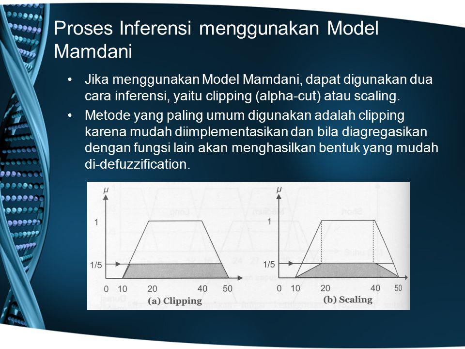 Proses Inferensi menggunakan Model Mamdani Jika menggunakan Model Mamdani, dapat digunakan dua cara inferensi, yaitu clipping (alpha-cut) atau scaling