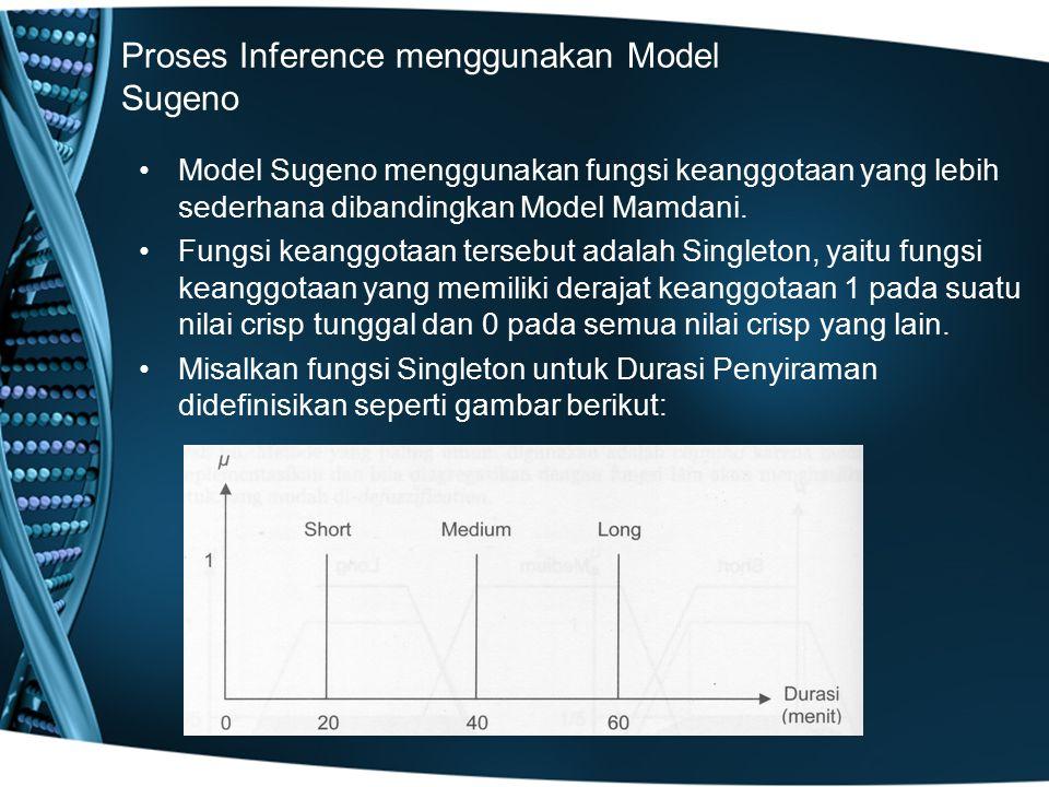 Proses Inference menggunakan Model Sugeno Model Sugeno menggunakan fungsi keanggotaan yang lebih sederhana dibandingkan Model Mamdani. Fungsi keanggot