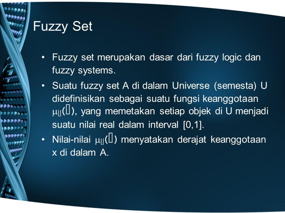 Fuzzy Set Contoh: –Misalkan, x = {5, 10, 20, 30, 40, 50, 60, 70, 80} adalah crisp set Usia dalam satuan tahun.